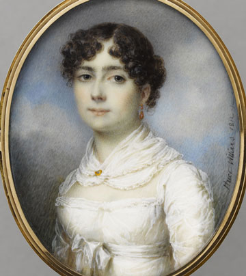 giovane donna del periodo Regency in corpetto bianco e capelli scuri